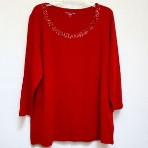 Coldwater Creek Sequined Neckline Red Top